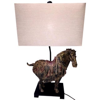 Asian Ming Horse Table Lamp For Sale