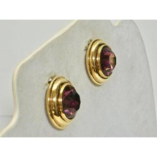 Monet Alexandrite Glass Gold Clip Back Earrings Preview