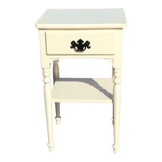 1980s Traditional Ivory Maple Nightstand
