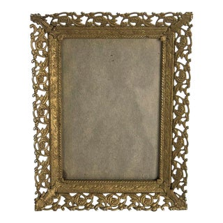 1960s Mid-Century Gold Filigree Picture Frame For Sale