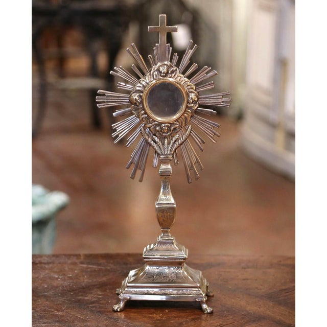 19th Century French Bronze Silvered Catholic Monstrance With Cross & Wheat Decor For Sale - Image 9 of 9