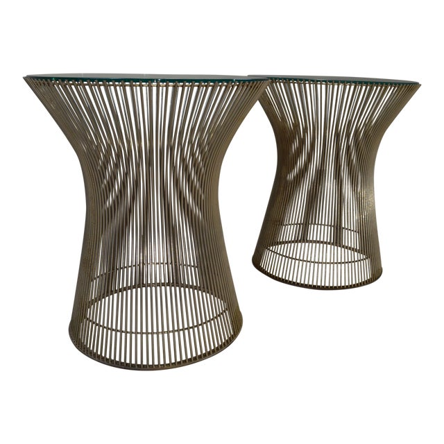 Warren Platner for Knoll Nickel & Glass Side Tables - A Pair - Image 1 of 5