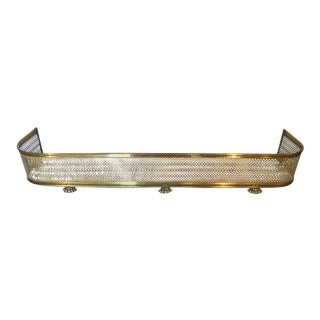 Large Vintage Brass Claw Foot Fireplace Fender For Sale