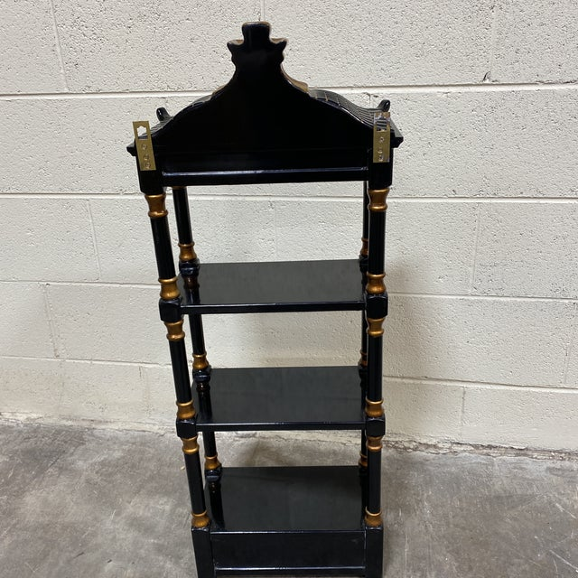 1990s Black Gold Lacquer Pagoda Wall Shelf For Sale - Image 5 of 13