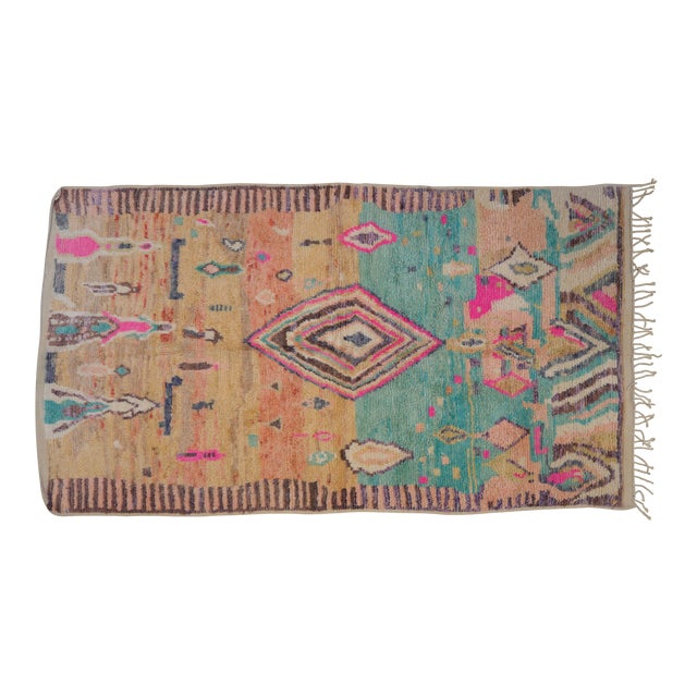 Boho Chic Moroccan Tribal and Geometric Design Rug - 4′11″ × 8′10″ For Sale