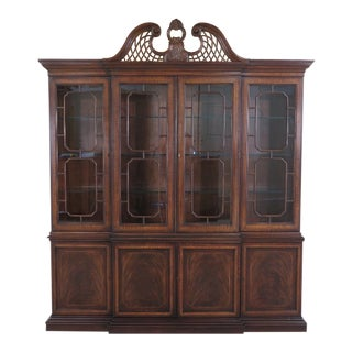 Drexel Inlaid Mahogany 4 Door China Cabinet Breakfront For Sale