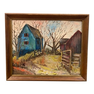 Mid-Century Modern Farm and Barn Original Oil Painting on Board Signed For Sale