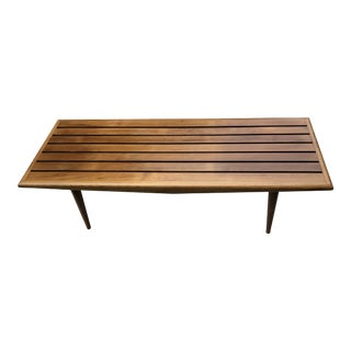 Mid-Century Modern Slatted Wood Coffee Table with Tapered Legs For Sale