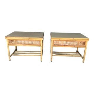 Vintage Ficks Reed Rattan and Cane Side Tables- a Pair For Sale