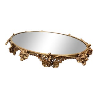 Early 20th Century French Brass Mirrored Plateau With Floral and Cherub Decor For Sale