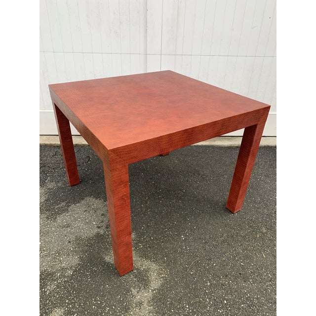Wrapped Faux Crocodile Parsons Side Table For Sale - Image 13 of 13