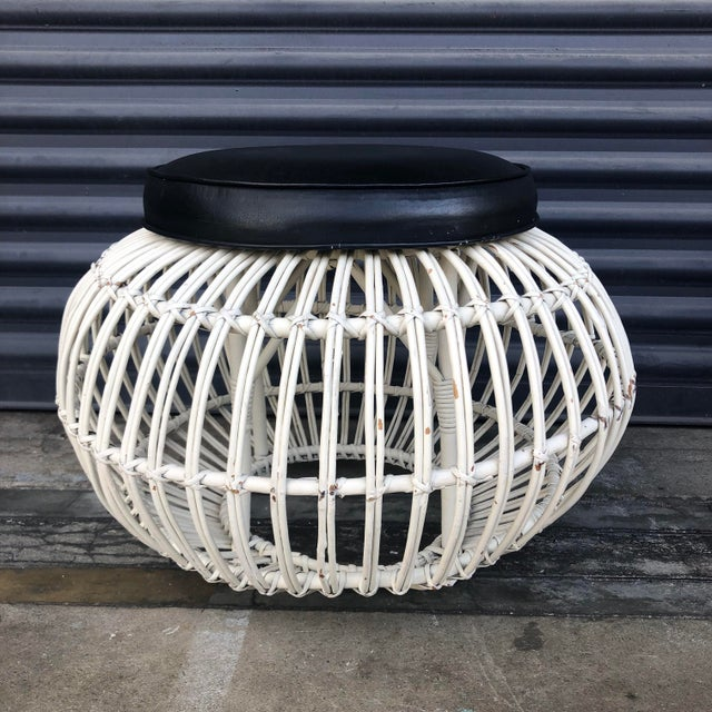 Vintage Albini Style Pencil Reed Rattan Ottoman For Sale - Image 13 of 13