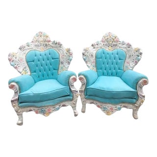 1950s Vintage Italian Baroque / Ventian Style Baby Blue Velvet Throne Chairs- A Pair For Sale