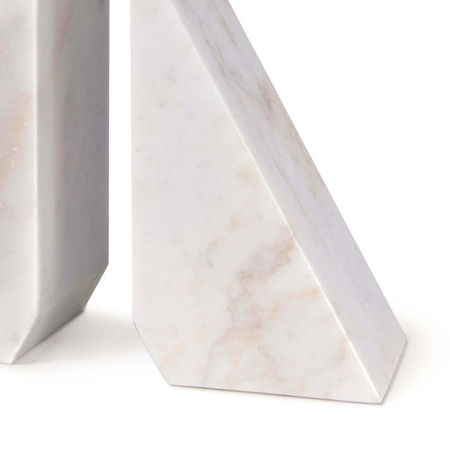 Othello Marble Bookends in White - A Pair For Sale - Image 4 of 5
