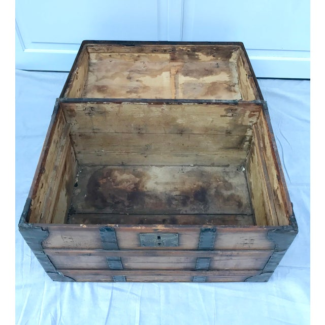 Gothic 1850's Gothic Rounded Top Wooden Trunk For Sale - Image 3 of 8