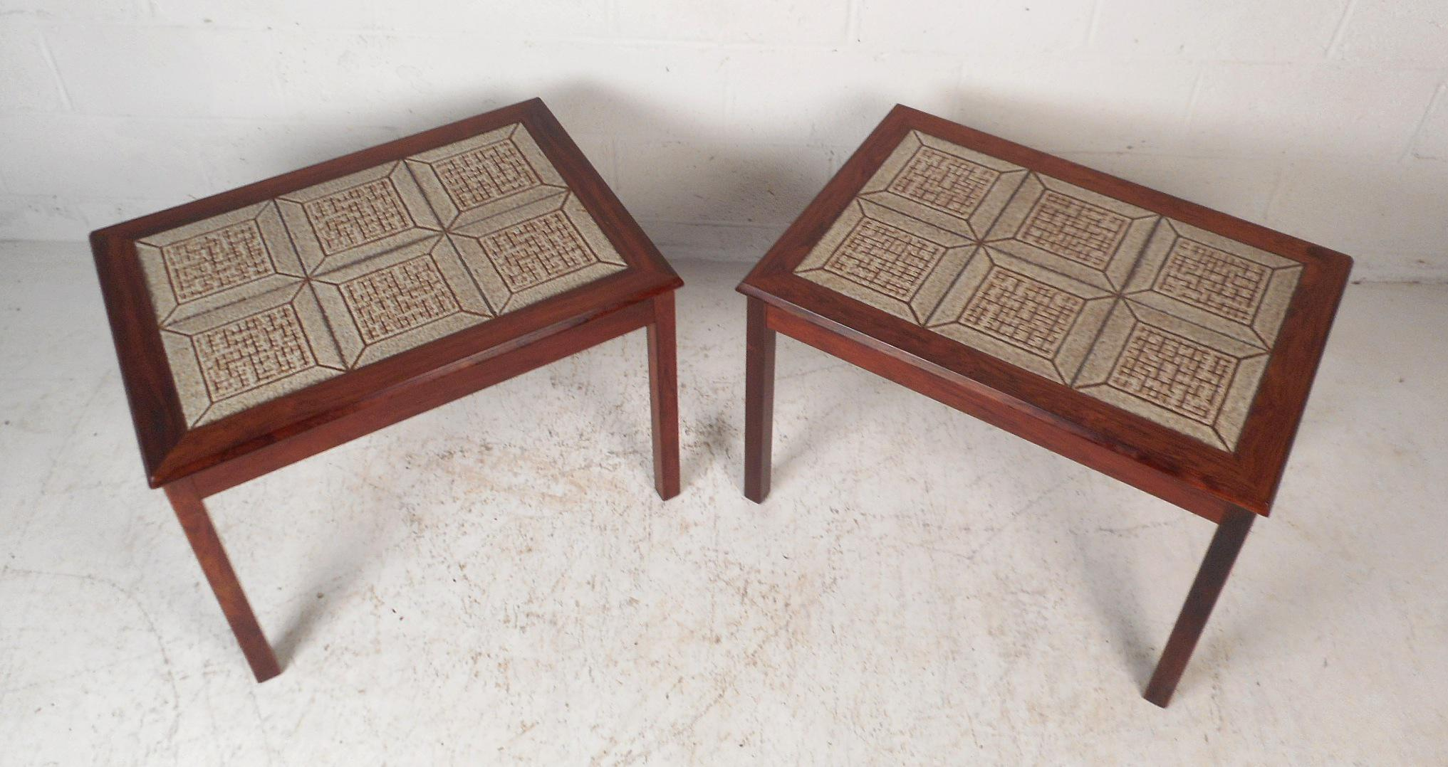 Bon Modern Pair Of Danish Midcentury Rosewood Tile Top End Tables For Sale    Image 3 Of