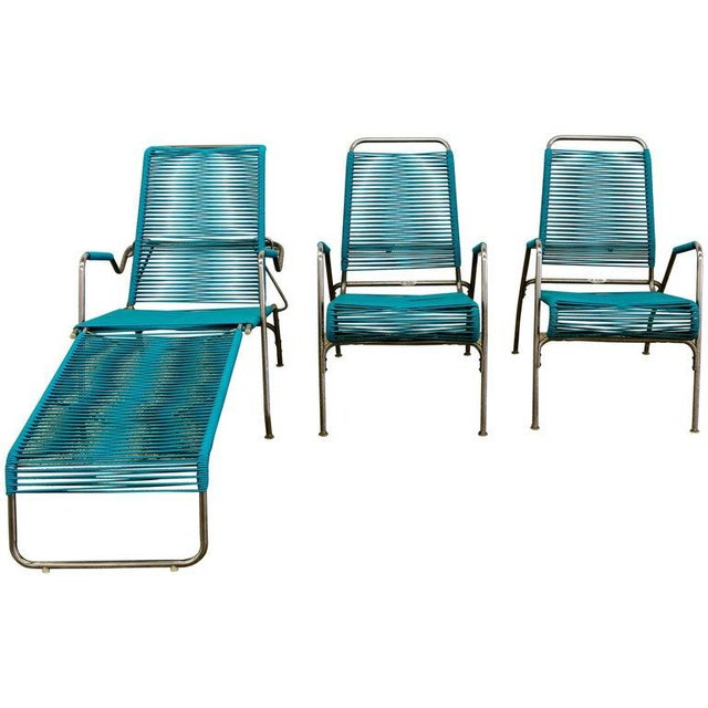 Patio Furniture by Surf Line, 2 Lounge Chairs, 1 Chaise in Stainless and Aqua For Sale - Image 13 of 13