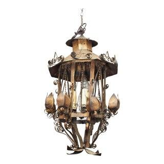 Tole Lantern Form Light For Sale