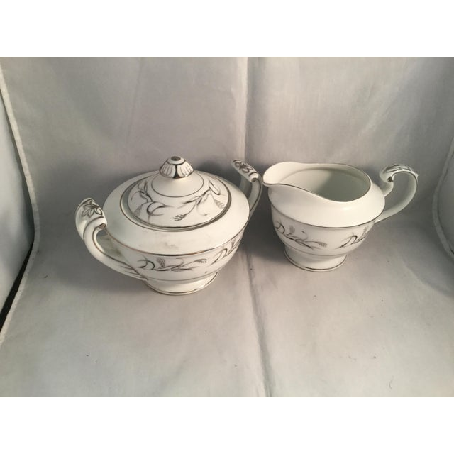 Diane Pattern Vintage Harmony House Fine China Platinum Garland 3541 Sugar and Cream Set - 2 Pieces For Sale In Columbia, SC - Image 6 of 6