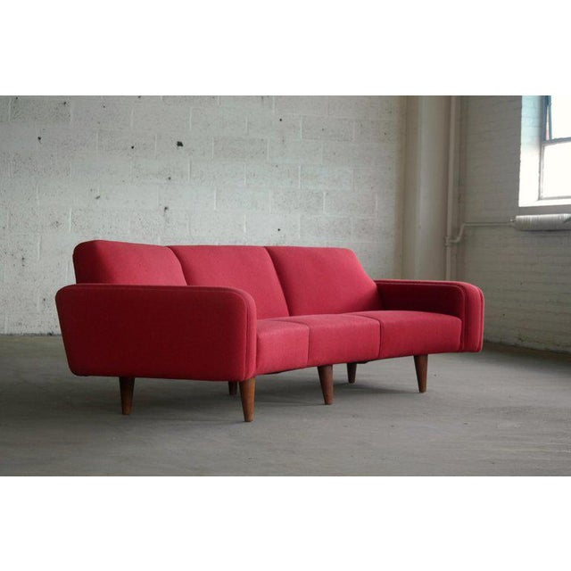 Danish Modern Large Danish 1960s Illum Wikkelso for Aarhus Model 450 Curved Sofas - a Pair For Sale - Image 3 of 13