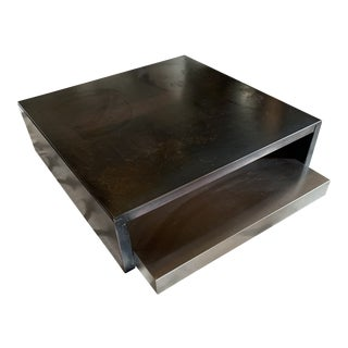 Modern Wrought Iron Coffee Table With Aluminum Pull-Out Shelf For Sale