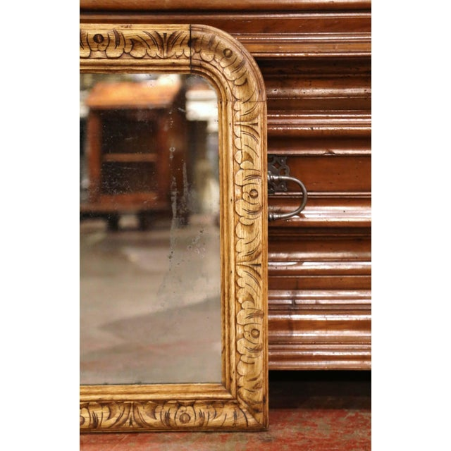 19th Century French Louis XIII Carved Bleached Oak Wall Mirror For Sale In Dallas - Image 6 of 8