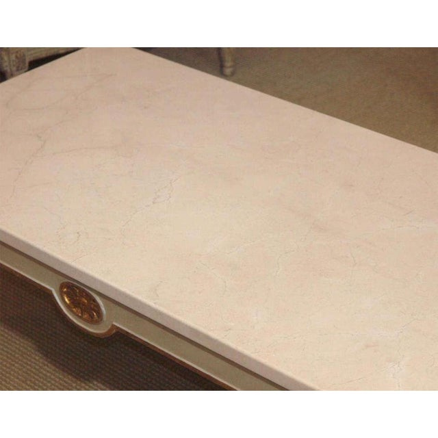 White Regency Style Coffee Table With White Marble Top For Sale - Image 8 of 8