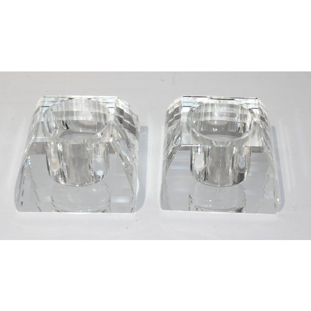 Late 20th Century Vintage Oleg Cassini Faceted Crystal Pyramid Votive Candle Holders - a Pair -With Original Gift Boxes For Sale - Image 5 of 10