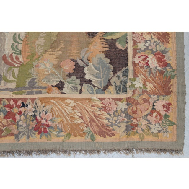 Fine Antique European Tapestry Depicting a Country Scene With Dogs For Sale - Image 4 of 13