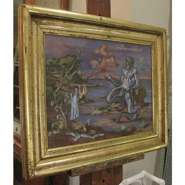 """Figurative 1934 """"Neptune at Shore"""" Oil on Canvas Painting by William Littlefield For Sale - Image 3 of 9"""