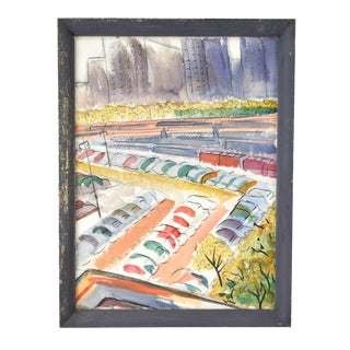1950s Vintage Dick Fort Chicago Michigan Ave Shore Line Abstract Watercolor Painting For Sale