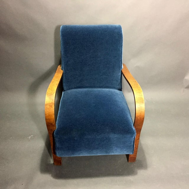 Late 1930s Danish Oak Armchair, New Mohair Upholstery For Sale - Image 4 of 10