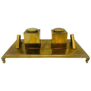 1960s Italian Sarreid Ltd. Brass Inkwell Desk Set For Sale