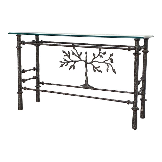 1970s Giacometti Style Welded Metal & Glass Console Table For Sale In Philadelphia - Image 6 of 8
