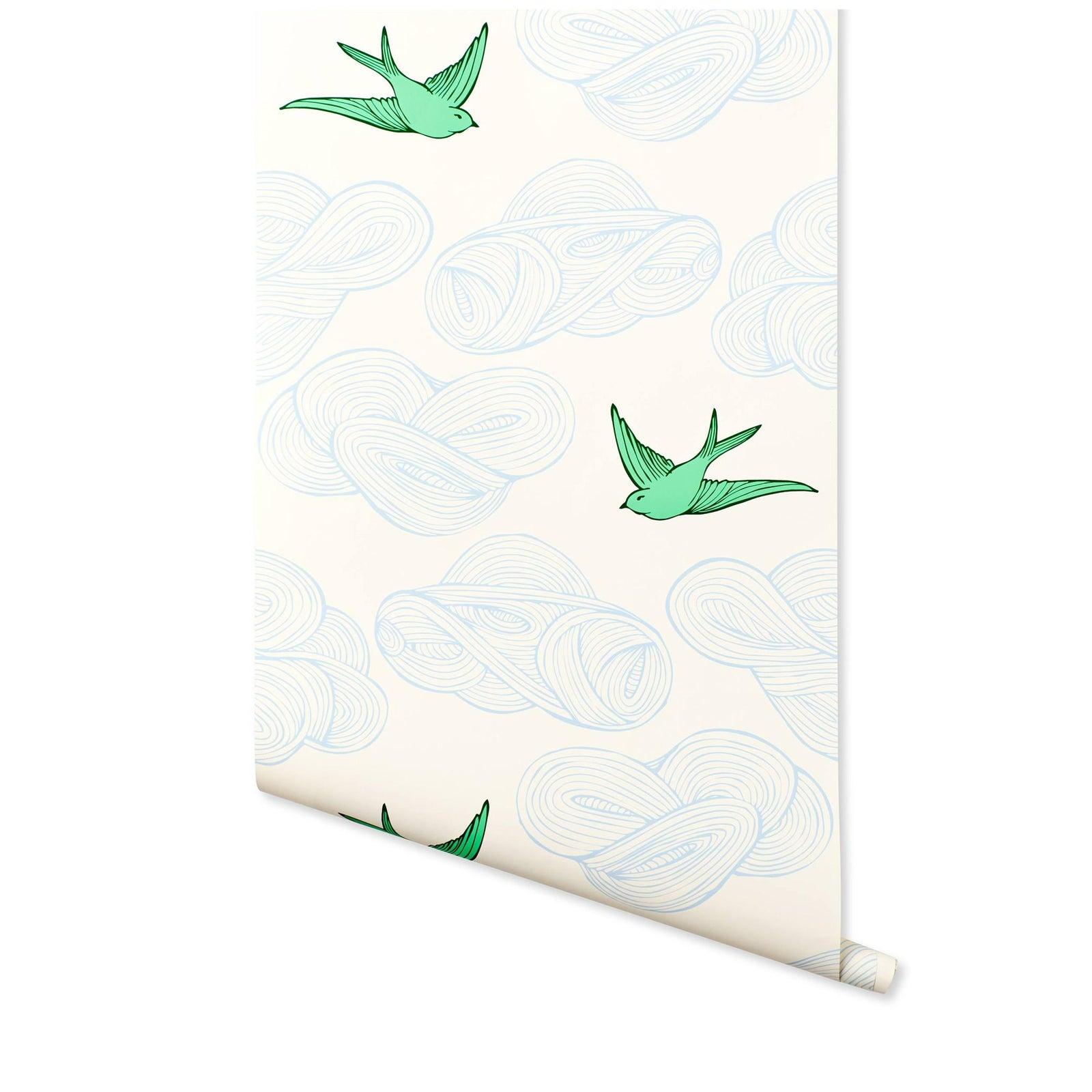 Hygge & West Daydream Wallpaper in Green - 1 Roll   Chairish