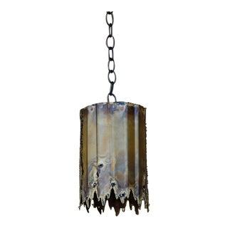 Mid Century Tom A. Greene Small Brutalist Pendant Light For Sale