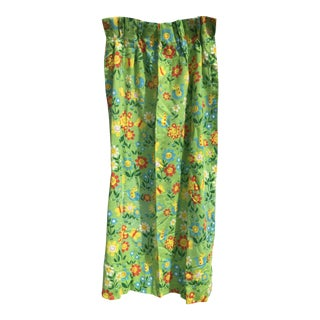 1960s Vintage Bright Green Floral Curtains- a Pair For Sale