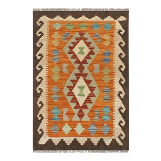 Bohemian Turkish Kilim Sol Rust/Brown Hand-Woven Vintage Rug - 1'11 X 2'11 For Sale