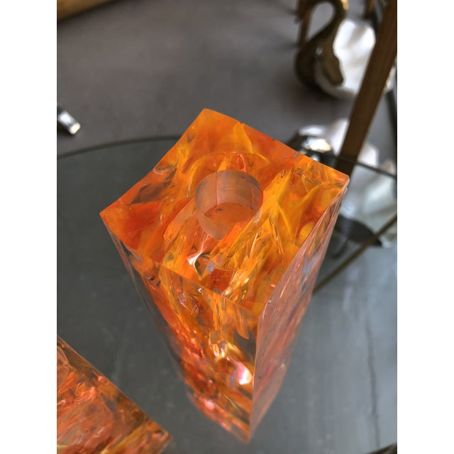 Pair of Vintage Orange Resin Candlesticks Signed N M For Sale - Image 4 of 11