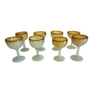 Vintage Mid 20th C. Murano Puleguso Drinkware-Eight Small Wine Glasses For Sale