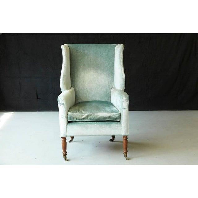 Hepplewhite 19th Century Hepplewhite Mahogany Wingback Chair in Silver Striae Velvet For Sale - Image 3 of 9