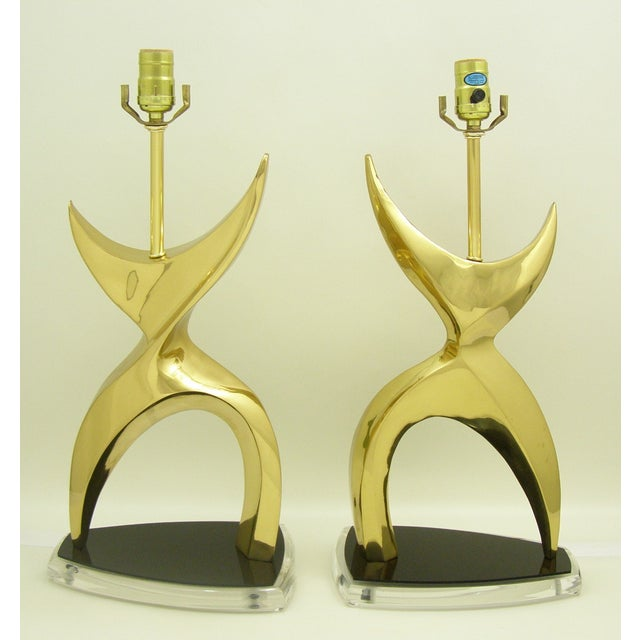 Mid-Century Modern Brass Black Lucite Abstract Figural Table Lamps Inspired by Phillipe Jean MCM - a Pair Millennial For Sale - Image 5 of 11