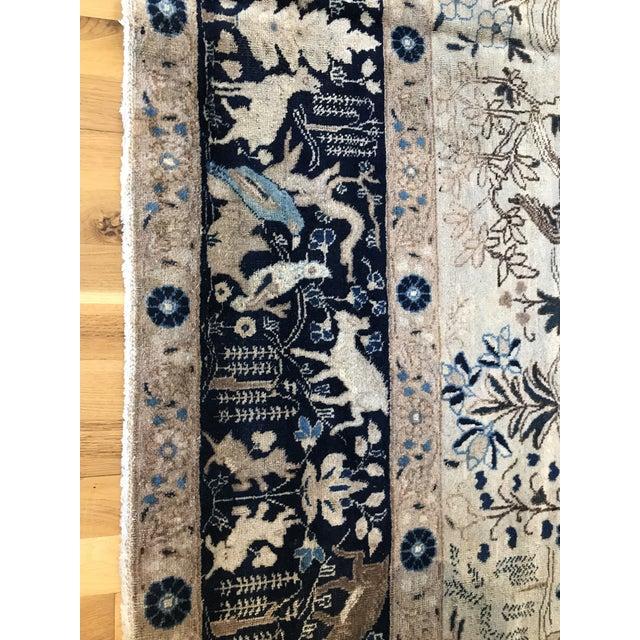 Blue Antique Tabriz Pictorial Wool Rug - 9′4″ × 12′4″ For Sale - Image 8 of 11
