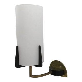Wall Lamp in Brass & Opaline Glass by Rupert Nikoll, 1960s For Sale