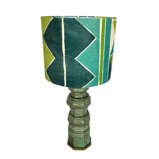 Vintage Ceramic Table Lamp & Larsen Custom Shade For Sale