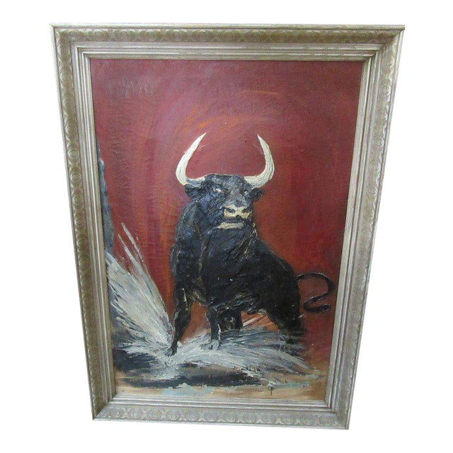 Thick Vintage Bull Painting - Image 1 of 7