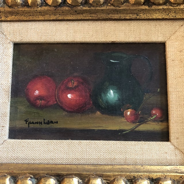 Realism Gallery Wall Collection- 2 Original Frank Leon Small Still Life Paintings With Fruit Original Carved Wood Frames 1950's For Sale - Image 3 of 6