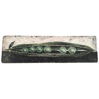 Pea Pod Still Life Painting on Wood Plank