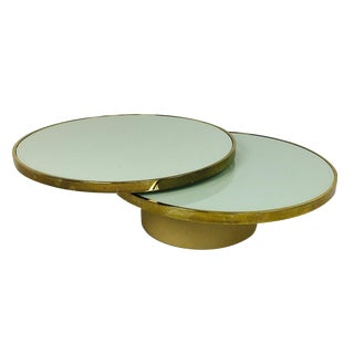 Swivel Brass and Glass Coffee Table by Dia - Design Institute America For Sale