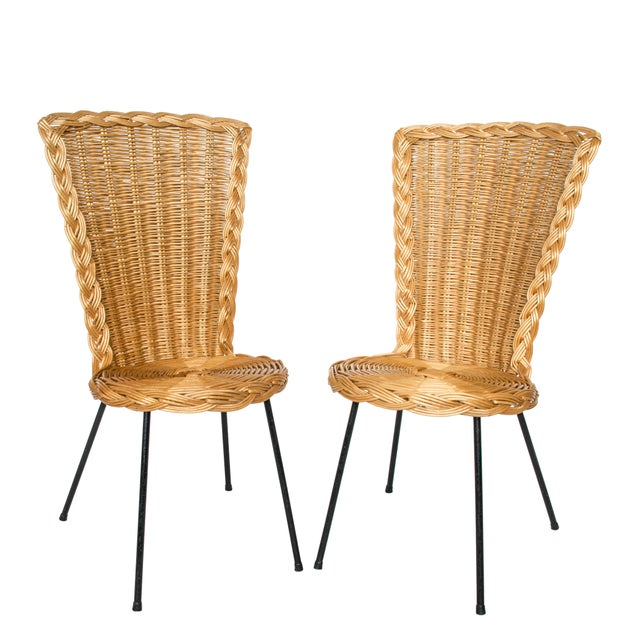 Metal Vintage French Rattan Chairs on Metal Legs - a Pair For Sale - Image 7 of 7
